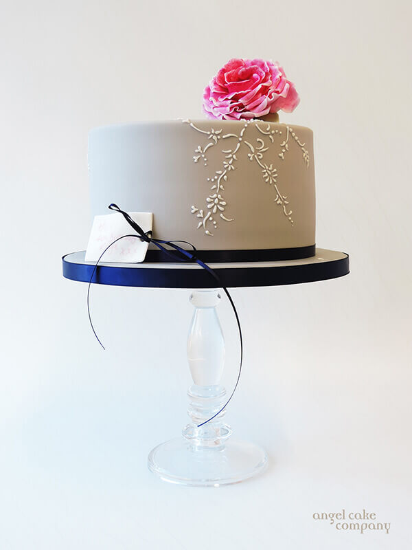 Grey Navy Rose Cake