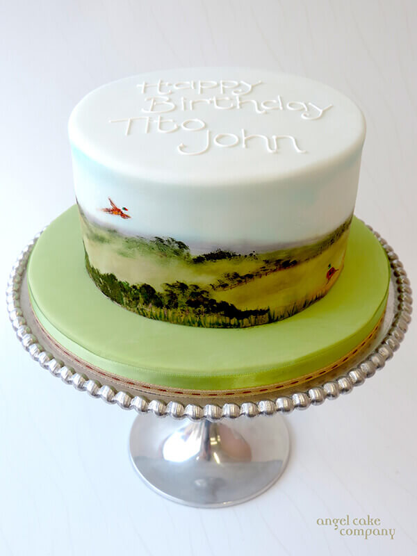 Water Colour Pheasant Shoot Cake